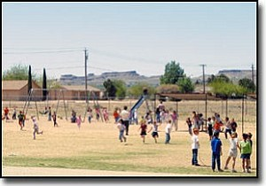 TERRY ORGAN/Miner<br> Children spend part of the lunch hour Tuesday having fun on the playground at La Senita Elementary School.