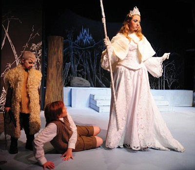 Les Stukenberg/The Daily Courier<br> Jason Ertl, as the dwarf, Carly Fonda, as Edmond, and Bethany Clesceri, as the White Witch, perform in the Prescott Center of the Arts' production of The Lion, The Witch and The Wardrobe. The play runs through Sunday, Dec. 22 at the PCA Theater,  208 Marina Street in Prescott.