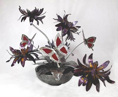 """Butterfly Garden"" by Lin Hall is part of the 'Tis Gallery exhibit ""Steeling Our Emotions."""