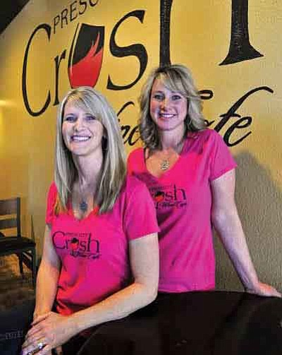 Michelle Clustka, left, and Ronda Hayter, co-owners of the Prescott Crush Wine Café, opened their doors in the Frontier Village on May 16.<br>  Photos by Matt Hinshaw/The Daily Courier