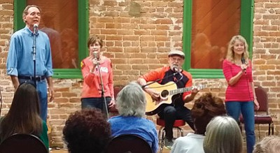 "The ensemble ""I Hear Voices!"" – set to play for a Folk Sessions series performance at 7 p.m. Saturday at the Highland Center for Natural History – includes Bobby Kimmel, Kathy Harris, Bobby Ronstadt and Suzy Ronstadt.<br> Courtesy photo"