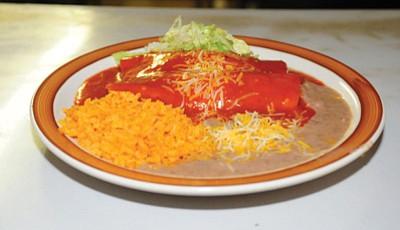 Spinach enchiladas at Maya Mexican Restaurant in Prescott. <br /><br /><!-- 1upcrlf2 --><br /><br /><!-- 1upcrlf2 --><br /><br /><!-- 1upcrlf2 --><br /><br /><!-- 1upcrlf2 --><br /><br /><!-- 1upcrlf2 --><br /><br /><!-- 1upcrlf2 -->
