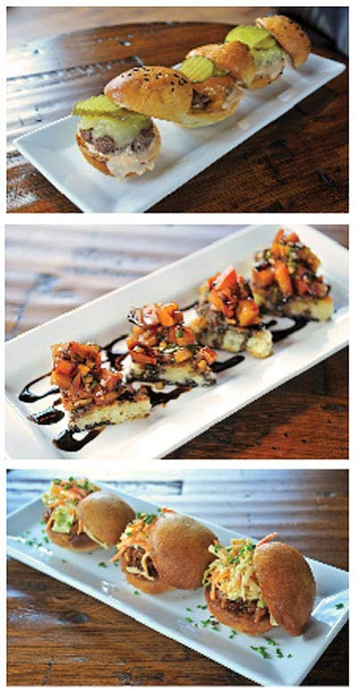 Pictured from top to bottom are Cork and Cuisine's Three Beef Sliders, Happy Hour Bruschetta and Pulled Pork Sliders. (Matt Hinshaw/The Daily Courier)