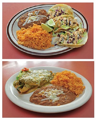 Top are Barbudos' Fish Tacos. Bottom are Chile Relleno. (Matt Hinshaw/The Daily Courier)