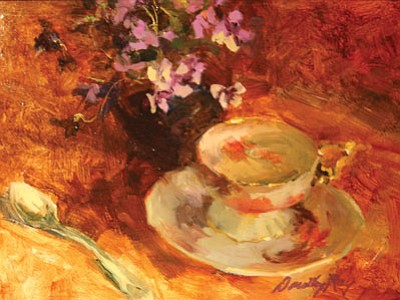 """Art by Dorothy Ray, """"Antique Cup And Saucer"""" oil painting, will be part of the studio tour Oct. 3-5. (Courtesy image)"""