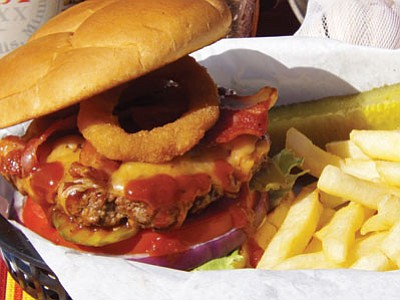 The Wild West Burger at Prescott Junction Restaurant, where burgers are a popular item. (Courtesy photo)