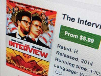 "A computer screen shows Sony Pictures' film, ""The Interview"" available for rental on YouTube Movies Wednesday.  AP Photo"