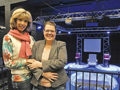 """Matt Hinshaw/The Daily Courier<br> Catherine Miller Hahn, director of """"The Other Place,"""" left, and Melanie Sapecky (""""Juliana"""") stand inside the Prescott Center for the Art's Stage Too Tuesday afternoon in Prescott.  The play, written by Sharr White, opens on Feb. 5."""