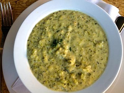 Broccoli Cheese Soup is made with a blend of cheeses and, of course, broccoli.  Often times with this soup the cheese overwhelms the broccoli but not in this case.  The flavors blended beautifully for a very hearty delicious soup. (Archie/For Kudos)