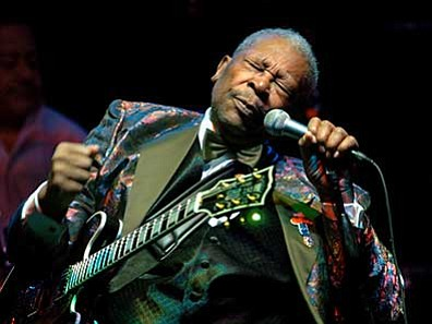 Matthew S. Gunby, The Daily Times via AP<br> In this Feb. 16, 2007, file photo, B.B. King performs at the Wicomico Youth and Civic Center, in Salisbury, Maryland. King died Thursday, May 14, 2015, peacefully in his sleep at his Las Vegas home at age 89, his lawyer said.