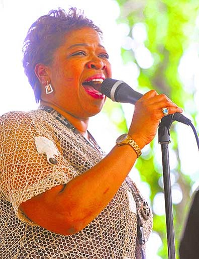 Renee Patrick performs at the courthouse square gazebo during the 13th annual Prescott Jazz Summit in downtown Prescott in 2013.<br /><br /><!-- 1upcrlf2 -->(Matt Hinshaw/The Daily Courier)