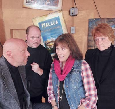 """Actors Sean Jeralds, left, Bruce Thompson, Joanne Robertson, and Linda Miller rehearse a scene from """"My Narrator"""" Saturday morning at El Gato Azul in downtown Prescott. The """"My Narrator"""" dinner theater will be performed on Dec. 2, 8, 9, 15, 16, and 22 at El Gato Azul. (Matt Hinshaw/The Daily Courier)"""