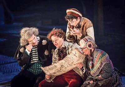 """From left, Nick Fletcher (Squire Trelawney), Helena Lymbery (Dr. Livesey), Patsy Ferran (Jim Hawkins) and Gillian Hanna (Grandma) perform a scene from National Theatre Live – """"Treasure Island"""" via satellite broadcast from London's National Theatre. The broadcast will be aired at 6 p.m. Thursday, Jan. 7, at the Yavapai College Performing Arts Center, 1100 E. Sheldon St. (Courtesy/London's National Theatre)"""