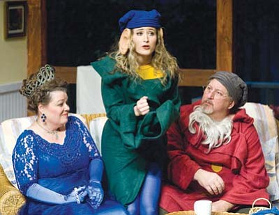 """Melanie Snyder as Sonia, Annabelle Veatch as Nina and Jonathan Perpich as Vanya rehearse a scene Monday for the Prescott Center for the Arts production of """"Vanya & Sonia & Masha & Spike."""" (Les Stukenberg/The Daily Courier)"""
