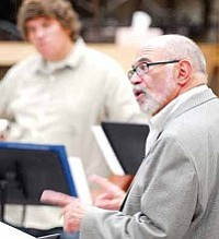 Matt Hinshaw/The Daily Courier<br>Mike Vax, Director of the Prescott Jazz Summit works with the Prescott High School Jazz Band during rehearsals for a past Prescott Jazz Summit.
