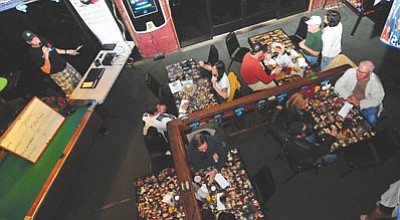 """Les Stukenberg/The Daily Courier<br>Dave """"Stretch"""" McCormack  hosts Trivia Night at Pudge and Asti's on Tuesday nights."""