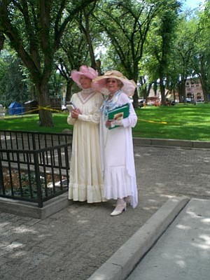 """Take an art tour with centennial time travelers. Genny Ingram as Mamaste """"Namie"""" Bloom and Jaye Leonard as Clarisse """"Clare"""" McCourt, See 'Tis Art Center and Gallery listing for details."""