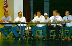<i>Photo by Jeff Pope</i> <b>The Winslow Levee Committee met at Winslow High School on Aug. 3 to hear public comments on decertification of the levee. The committee includes Winslow resident Jim O1Haco (left), Supervisors J.R. DeSpain and Jesse Thompson and Navajo County Public Works Director Dusty Parsons. Mayor Jim Boles (right) also attended but is not a committee member.