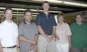 <i>Photo by Jeff Pope</i> <b>Winslow Junior High School has five new teachers this year. They are Dow Stephens (left), Charles Shepard, Ricky Greer, Michelle Cuellar and Erick Petranovich.</b>
