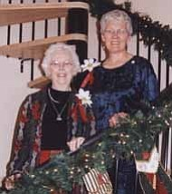 <i>Photo courtesy of Lila Atkins</i> <b>Morlie Fales (left) started the home tour 20 years ago, she is pictured with Women¹s Club Treasurer Susan lawler at the Sadler home.</b>