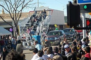 The giant shopping cart once a tradition in the Winslow Christmas Parade is now modernized thanks to Rodney Rucker of Winslow who built the cart above; capable of seating six people and driving down the street.