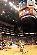 Winslow Lady Bulldogs play at the Glendale Arena in the State Finals.