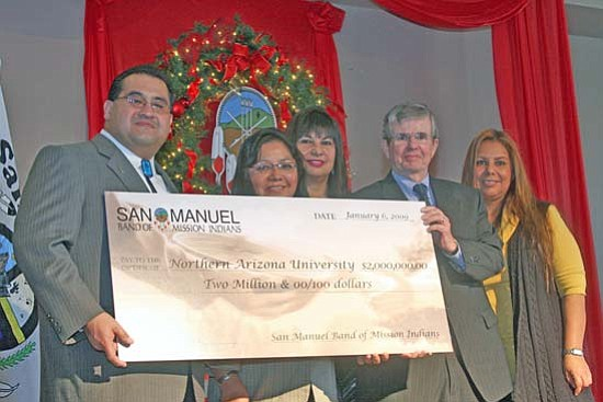 <i>NAU courtesy photo</i><br> San Manuel Business Committee members present a $2 million contribution to NAU toward building a Native cultural center on the Flagstaff campus. From left, Tribal Chairman James Ramos; Director for NAU's Native American Student Services Catherine Talakte; Vice Chairwoman Lynn Valbuena; NAU President John D. Haeger and Tribal Treasurer Audrey Martinez.