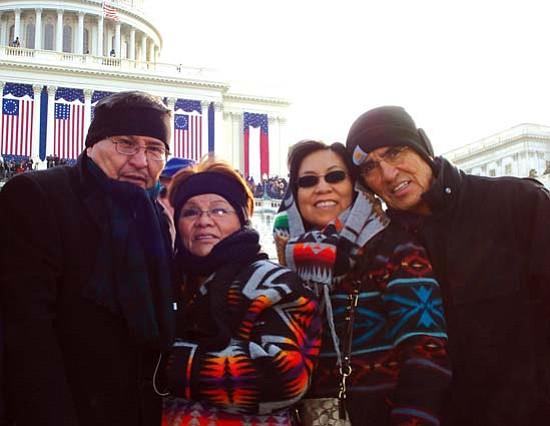 <i>Photo by Angie Cody</i><br> Navajo Nation Vice President Ben Shelly, his wife Martha, First Lady Vikki Shirley and President Joe Shirley Jr. are bundled up against the cold 20-degree day of President Barack Obama¹s inauguration.