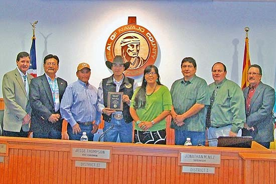 <i>Courtesy photo</i><br> Navajo County Supervisors on Jan. 13 recognized local cowboy Derrick Begay (in the cowboy hat) and his parents Victor and Myrtle for his participation in the 50th Wrangler National Finals Rodeo in team roping in December 2008.