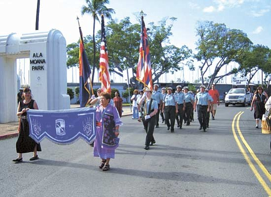 <i>Courtesy photo</i><br> The Hopi High JROTC cadets proudly represent the Hopi Tribe in the Martin Luther King Jr. parade on Jan. 19 in Waikiki, Hawaii. This was the third year that the Hopi JROTC cadets have participated in the parade.