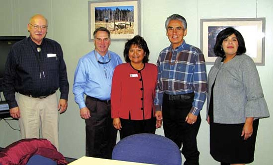 <i>Photo courtesy of Navajo Nation OPVP</i><br> Navajo Nation President Joe Shirley Jr., is the first Navajo president to meet with the Coconino County Board of Supervisors. He visited the county offices on Jan. 29. From left to right is District 1 Supervisor Carl Taylor, Board Chairman and District 3 Supervisor Matt Ryan, District 5 Supervisor Lena Fowler, President Shirley and Board Vice Chairwoman and District 2 Supervisor Liz Archuleta.