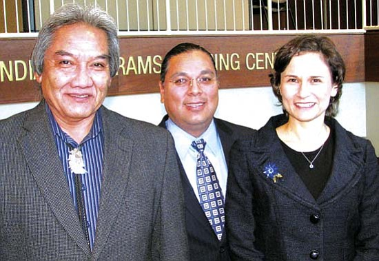 "<i>Courtesy photo</i><br> Recently announced Bureau of Indian Education Senior Executive Service (SES) career appointees are (from left to right): David Talayumptewa, Hopi; Bartholomew ""Bart"" Stevens, San Carlos Apache; and Stephanie E. Birdwell, Cherokee Nation."