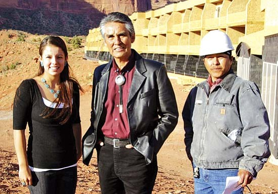 <i>Courtesy photo</i><br> Navajo Nation President Joe Shirley Jr. visits with Armanda Ortega (left) and Paul Oliver during construction of The View hotel on May 5, 2008. President Shirley was scheduled to attend the Supreme Court hearing on Monday in the Navajo Nation's $600 million breach of trust case.