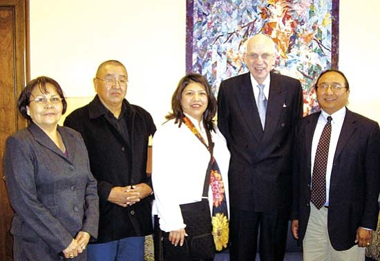 <i>Courtesy photo</i><br> Members of the Public Safety Committee of the Navajo Nation Council met with key officials of Congress to lobby for the stimulus package approved by Congress on Feb. 12. Pictured from left to right are Delores Greyeyes, Navajo Council delegates Raymond Joe, Hope MacDonald-Lone Tree, Sen. Bob Bennett (R-UT) and Rex Lee Jim.