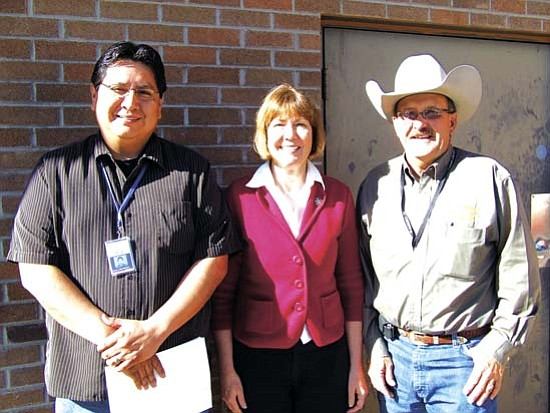 <i>Courtesy photo</i><br> Congresswoman Ann Kirkpatrick met with Navajo County Supervisors Jonathan Nez (left) and J.R. DeSpain, along with other officials from Navajo County, the city of Holbrook and the city of Winslow to discuss local infrastructure projects.