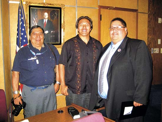 <i>Photo by Stan Bindell/NHO</i><br> Hopi High journalism student Paul Quamahongnewa hangs out with freelance writer Lee Hyeoma Sr. and Yavapai Apache Chairman Thomas Beauty.