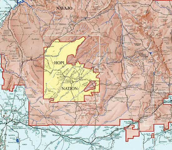 The map above shows Navajo Nation lands encompassing the Hopi Reservation (inset yellow). The Bennett Freeze, enacted in 1934, caused much animosity among the Navajo and Hopi Tribes who fought for over 40 years to establish land rights in what was known as the Bennett Freeze area. A mutual agreement between the two tribes in 2005 ended the stalemate. However, the Bennett Freeze is still part of federal law, which the Senate is now seeking to repeal.