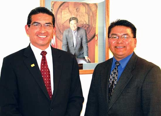 <i>Photo by Rima Krisst</i><br> New Mexico Cabinet Secretary for Indian Affairs Alvin Warren (left) stand with newly appointed Deputy Secretary Marvis Aragon Jr.