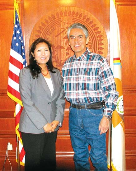 <i>Photo courtesy of Navajo Nation President's Office</i><br> Navajo Nation President Joe Shirley Jr., welcomed Arizona U.S. Attorney Diane Humetewa to the Navajo Nation capital on March 12 for an informal consultation and updating meeting about the activities of her office. Humetewa, Hopi, was appointed to her position in December 2007.