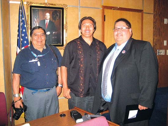 <i>Photo by Stan Bindell/NHO</i><br> Yavapai Apache Chairman Thomas Beauty (right) said Fossil Creek is sacred to his tribe. He recently met with freelance reporter Lee Hyeoma (left) and Hopi High School radio student Paul Quamahongnewa during Tribal Nations Day at the state legislature.