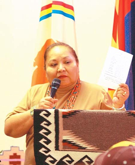 <i>Photo by Joshua Lavar Butler</i><br> Navajo Council Delegate Katherine Benally thanks the community and various agencies for their assistance in making the Dennehotso multipurpose facility a reality.