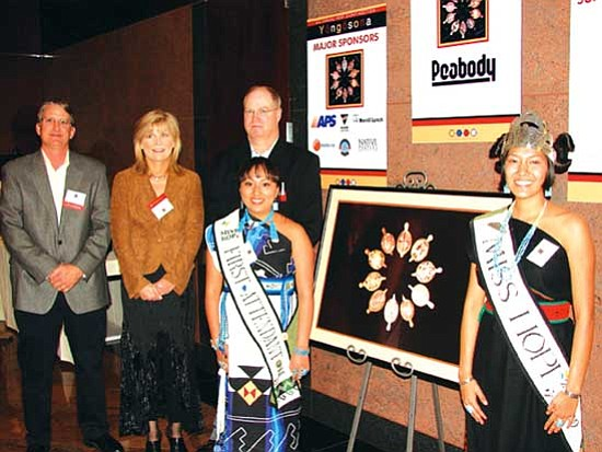 <i>Photo by Jim Anderson/Goalbusters</i><br> Miss Hopi Kiara Pahovama (right) and First Attendant Jody Timms stand with Peabody representatives Randy Lehn, Beth Sutton and Brad Brown.