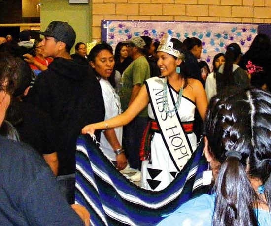 Miss Hopi 2008-2009 Kiara Pahovama served as a community support role model during the Hopis Against Alcohol and Substance Abuse (HAASA) sobriety event, including raising some donation money through a blanket dance at the Second Mesa Day School.