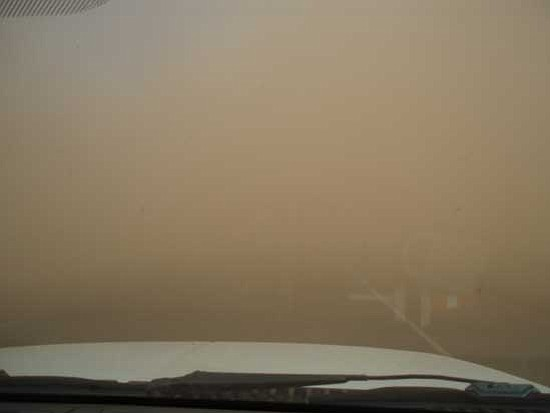 <i>Courtesy photo/ADOT</i><br> Photo showing blowing dust and low visibility on Interstate 40 east of Flagstaff.
