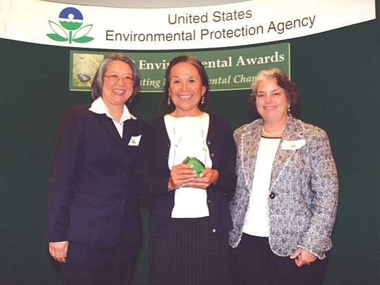 <i>Courtesy photo</i><br> Laura Yoshii, EPA Acting Regional Administrator (left) stands with Lillie Lane, Navajo Nation EPA Public Information Officer (center) and Jane Diamond, EPA Acting Deputy Regional Administrator.