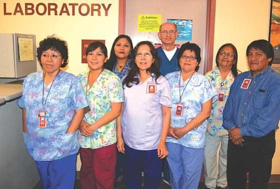 <i>Courtesy photo</i><br> Hopi Health Care Laboratory Staff (from left to right): Shirley Batala, Olivia Honahnie, Riana Puhuyaoma, Amanda Tracey, Earl Harvey, Jeannie Charlie, June Talaswaima and Kendrick Fritz. Not pictured is Kimberly Tom.