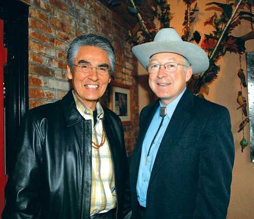<i>Courtesy photo</i><br> Interior Secretary Ken Salazar met with Navajo Nation President Joe Shirley Jr. on April 17 to discuss a number of initiatives for residents of the Navajo Nation, other American Indian communities and residents of New Mexico.
