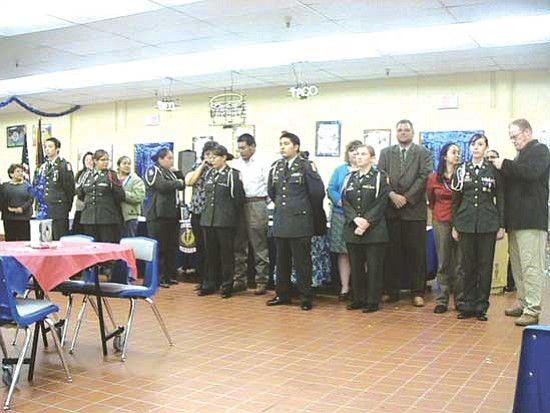 <i>Courtesy photo</i><br> Hopi JROTC cadets and new staff members stand proudly as they are promoted for the the 2009-2010 schoolyear. Parents of the cadets pinned the cadets' new ranks onto them.