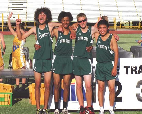 <i>Photo by Carl Perry</i><br> Tuba City's 4x800 meter relay team won gold at the 3A State Championships for the third time in four years. Pictured from left to right are sophomore Billy Orman, junior Ryan Yazzie, freshman Matthew Murray and junior Herschel Lester.