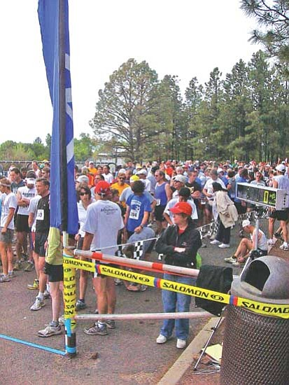 <i>Photo by S.J. Wilson/NHO</i><br> A large crowd of 10K contestants gather at the starting line for the 26th running of the Sacred Mountain Prayer Run.